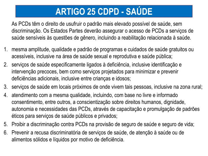 ARTIGO 25 CDPD - SAÚDE