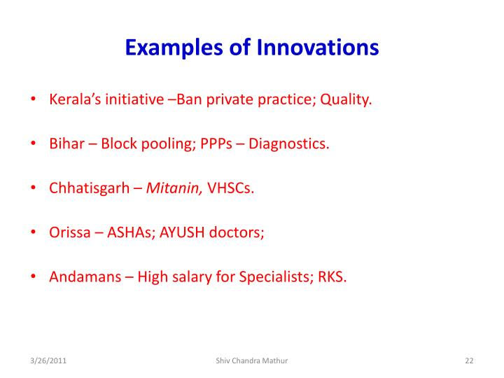Examples of Innovations