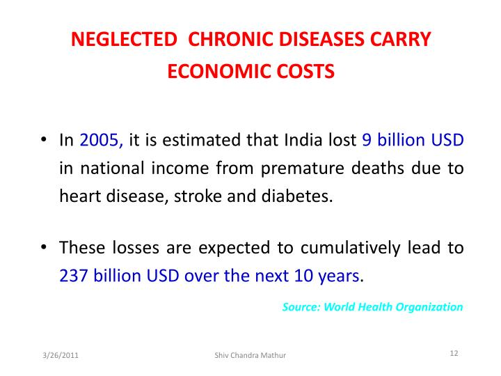 NEGLECTED  CHRONIC DISEASES CARRY ECONOMIC COSTS