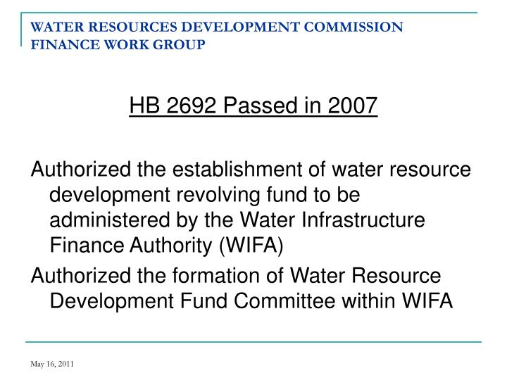 Water resources development commission finance work group