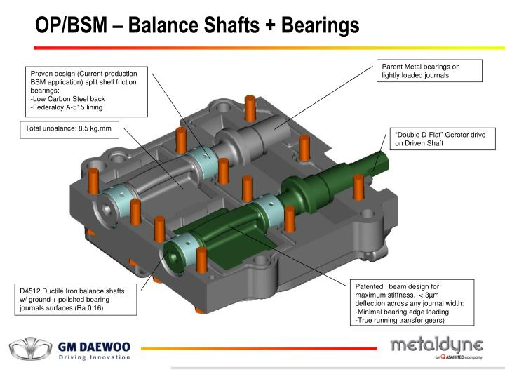 OP/BSM – Balance Shafts + Bearings