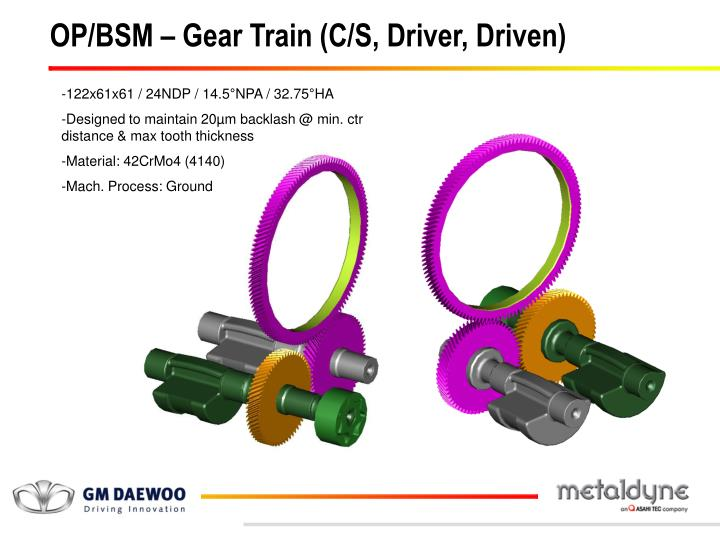OP/BSM – Gear Train (C/S, Driver, Driven)