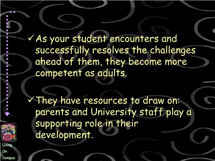 As your student encounters and successfully resolves the challenges ahead of them, they become more competent as adults.