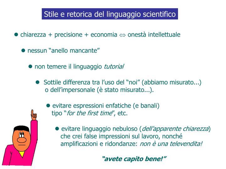 Stile e retorica del linguaggio scientifico