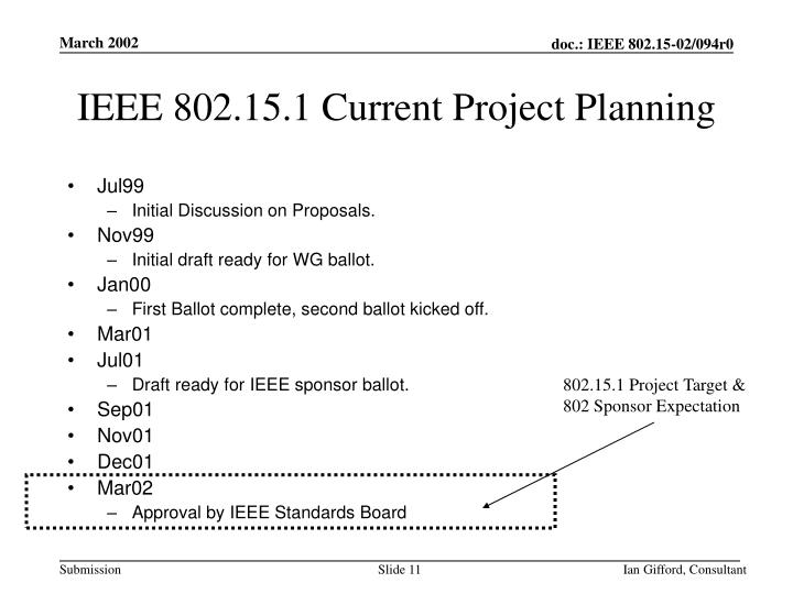 IEEE 802.15.1 Current Project Planning