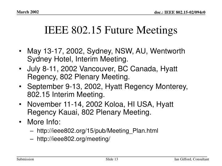 IEEE 802.15 Future Meetings