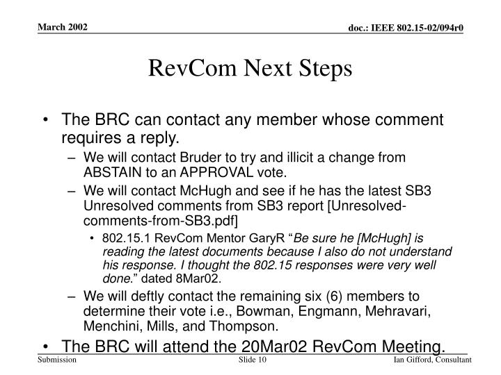 RevCom Next Steps