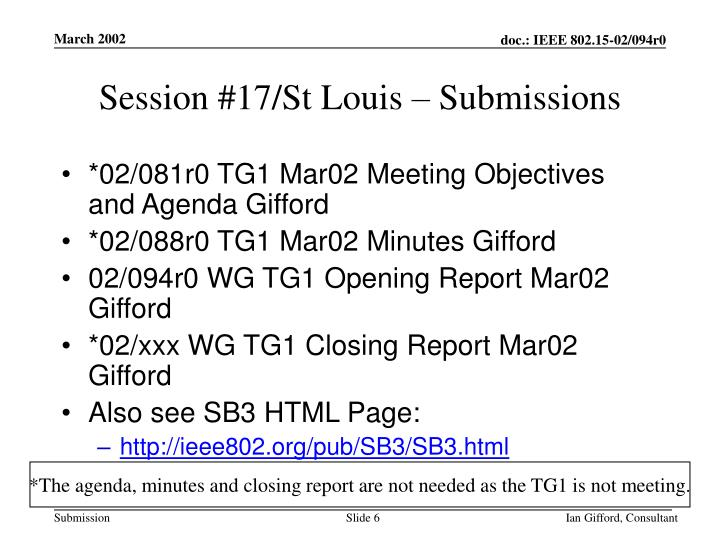 Session #17/St Louis – Submissions