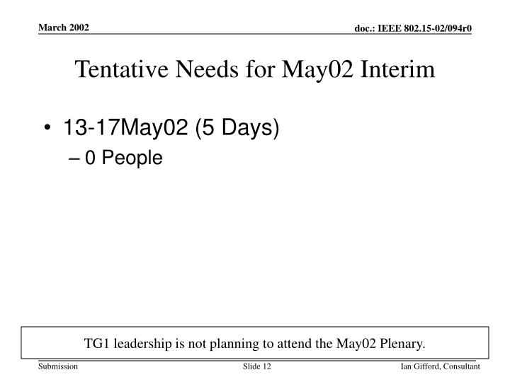 Tentative Needs for May02 Interim