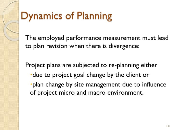 Dynamics of Planning