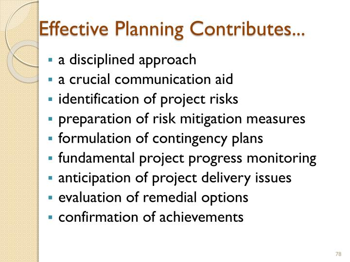 Effective Planning Contributes