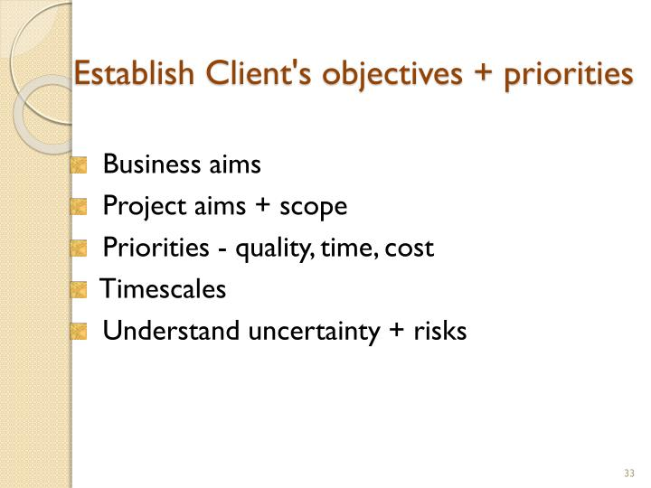 Establish Client's objectives + priorities