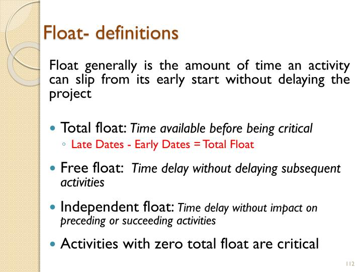 Float- definitions