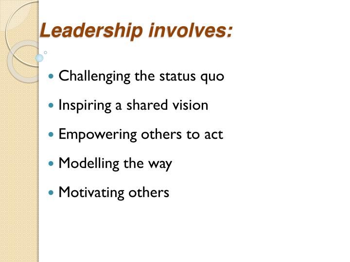 Leadership involves: