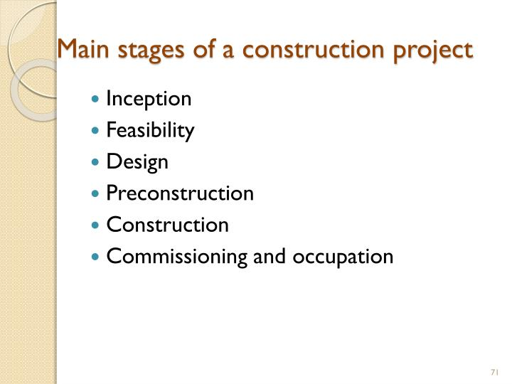 Main stages of a construction project