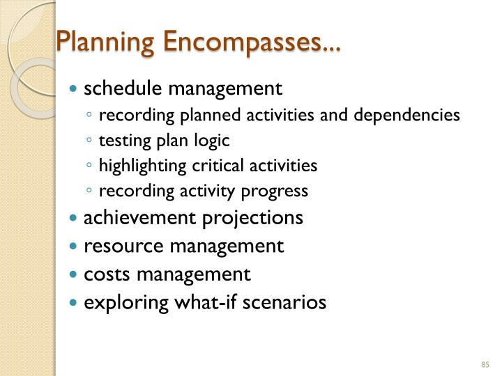 Planning Encompasses