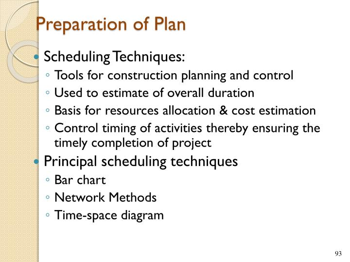 Preparation of Plan
