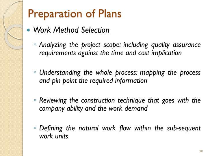 Preparation of Plans