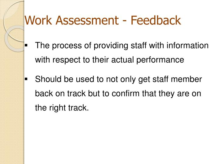 Work Assessment - Feedback