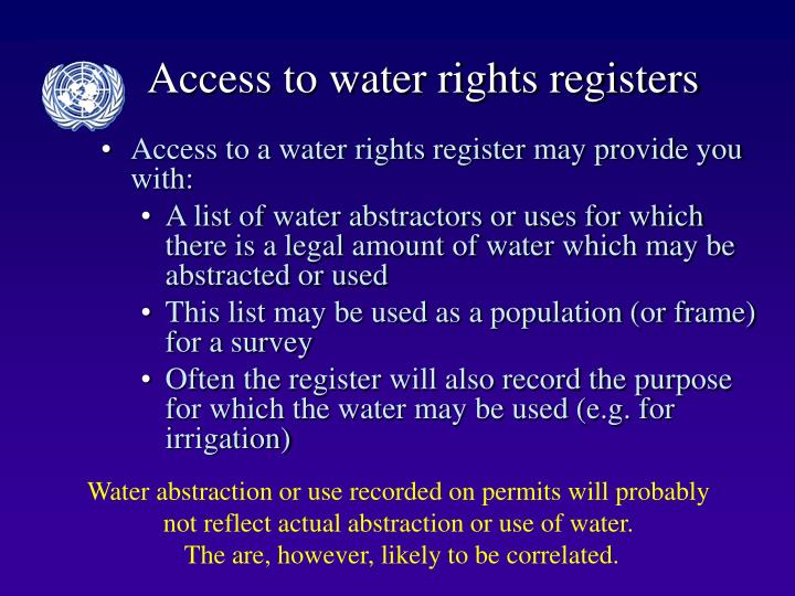 Access to water rights registers