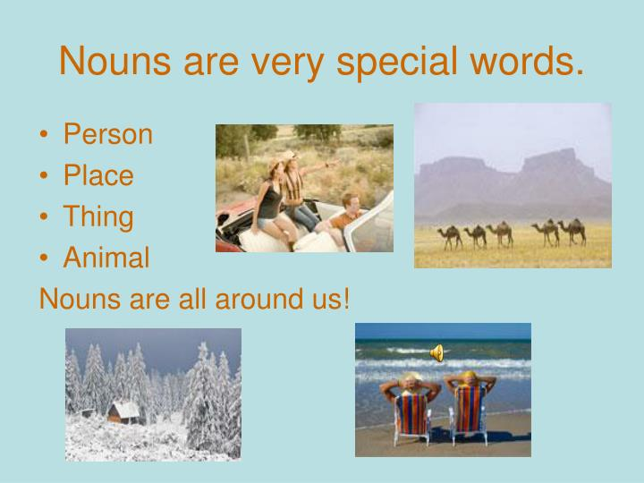 Nouns are very special words.