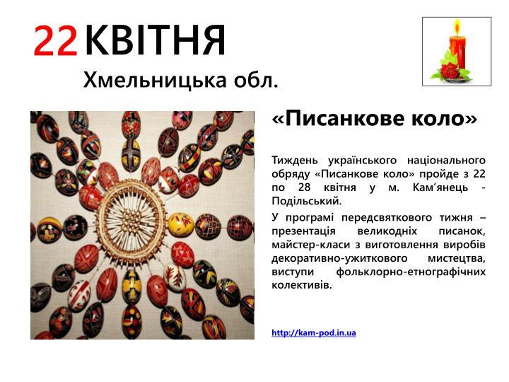 Тиждень українського національного обряду «Писанкове коло»
