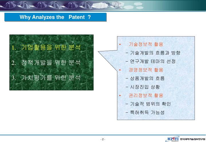 Why Analyzes the   Patent  ?