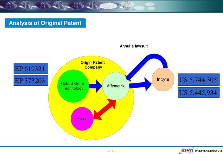Analysis of Original Patent
