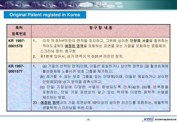 Original Patent registed in Korea
