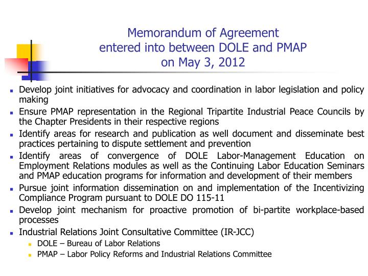 Memorandum of agreement entered into between dole and pmap on may 3 2012