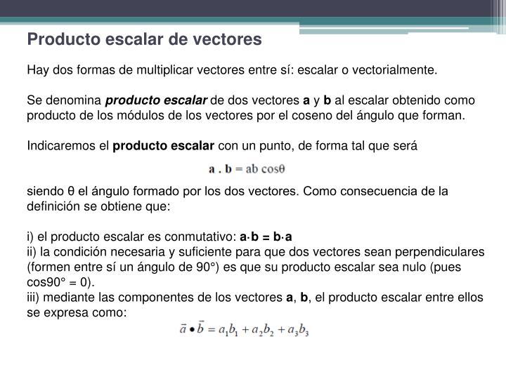 Producto escalar de vectores