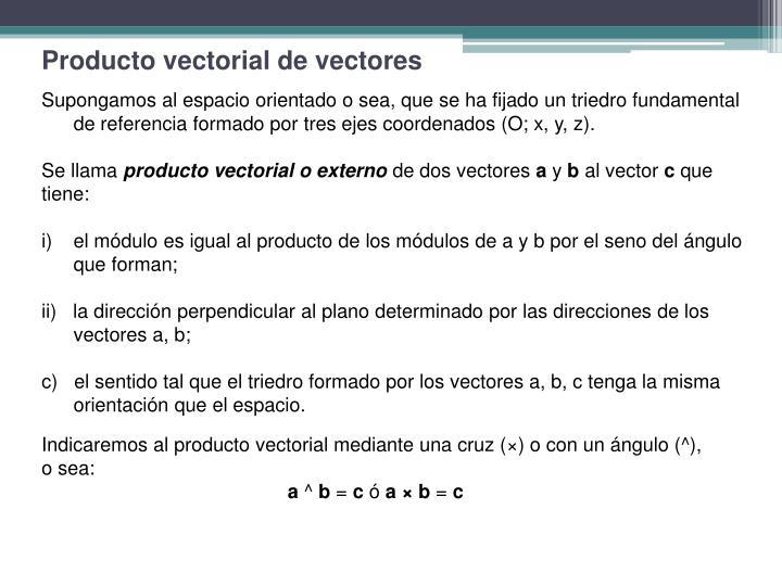 Producto vectorial de vectores
