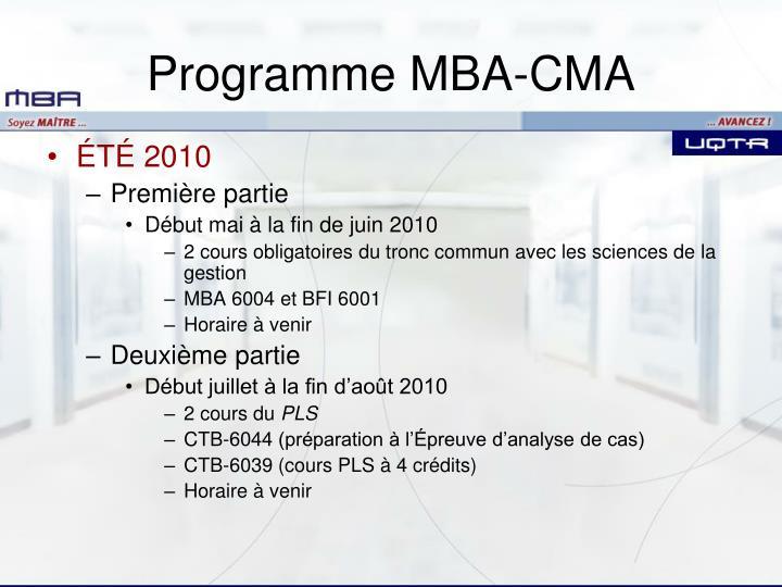 Programme MBA-CMA
