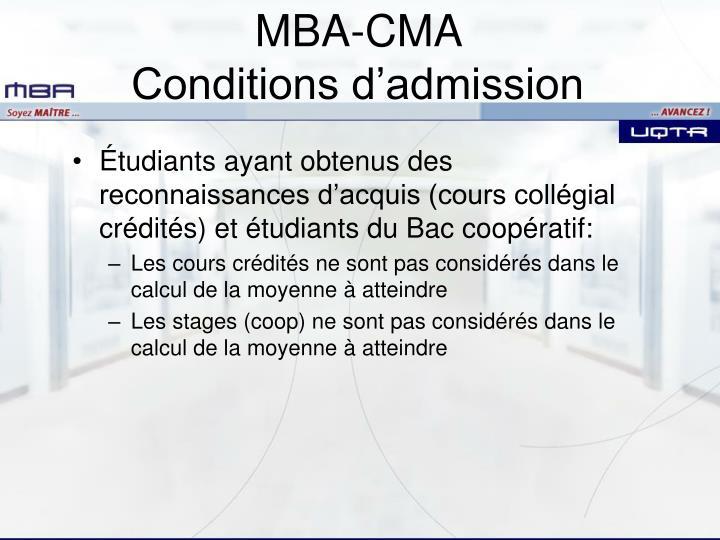 Étudiants ayant obtenus des reconnaissances d'acquis (cours collégial crédités) et étudiants du Bac coopératif: