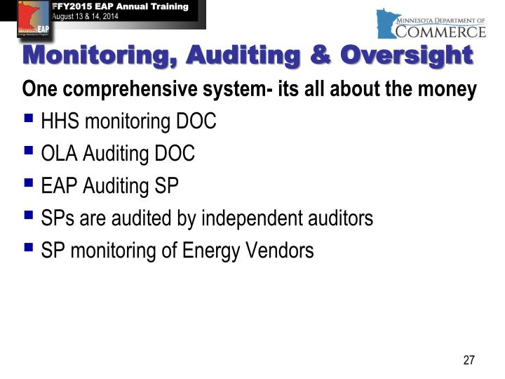 Monitoring, Auditing & Oversight