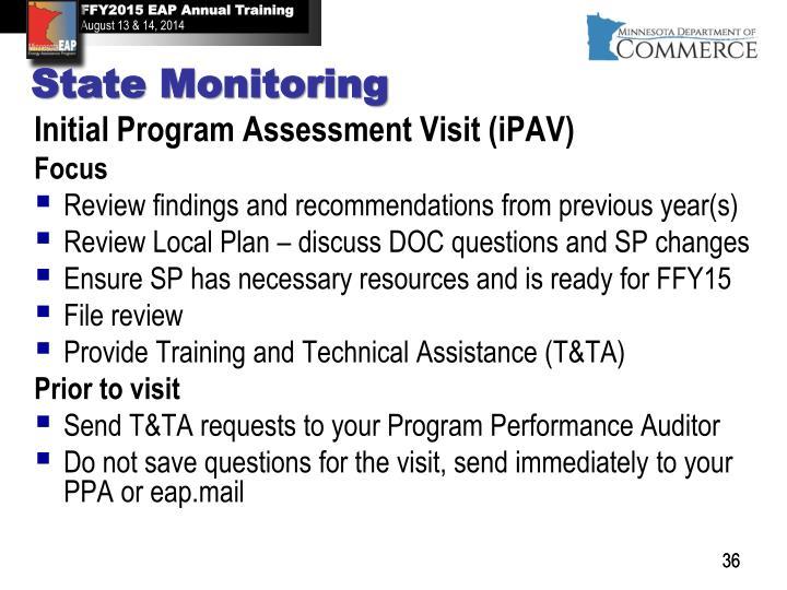 Initial Program Assessment Visit (