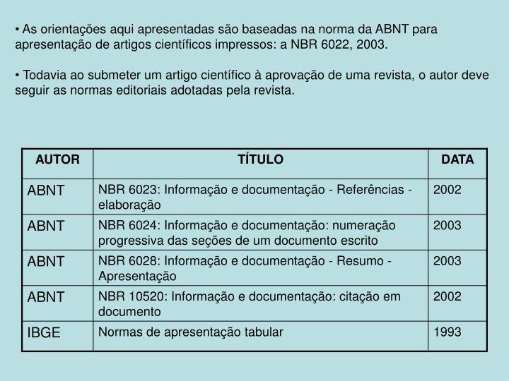 As orientações aqui apresentadas são baseadas na norma da ABNT para apresentação de artigos científicos impressos: a NBR 6022, 2003.