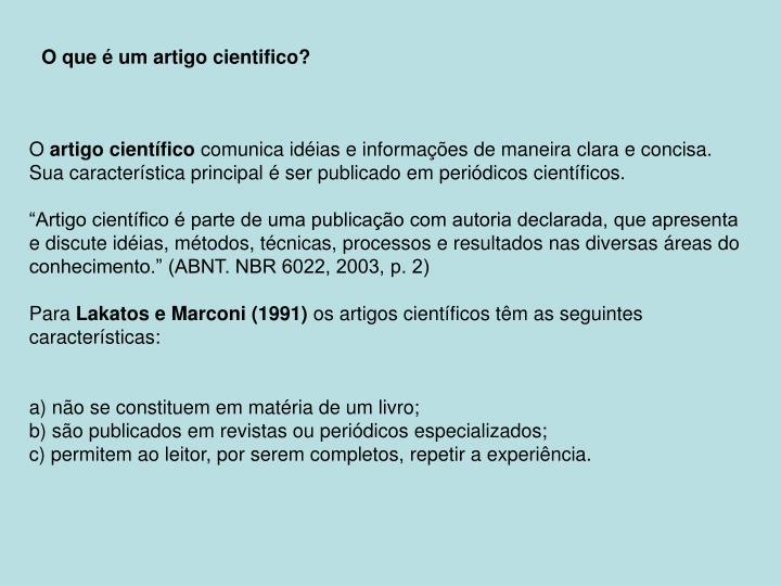 O que é um artigo cientifico?