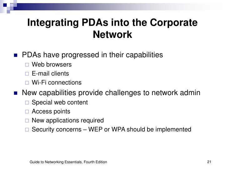 Integrating PDAs into the Corporate Network