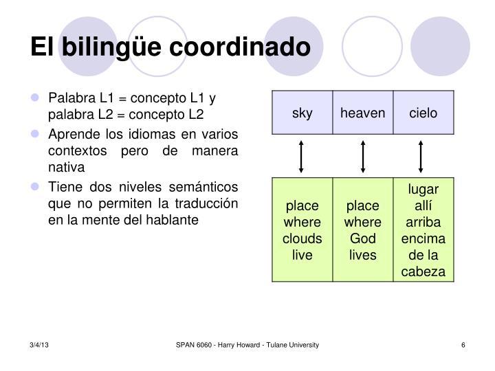 Palabra L1 = concepto L1 y palabra L2 = concepto L2