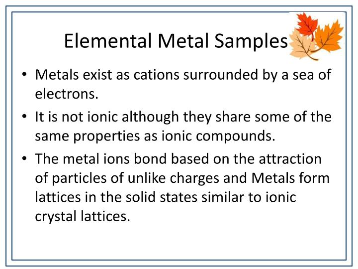 Elemental Metal Samples