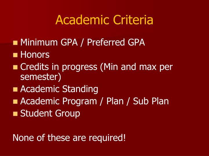 Academic Criteria