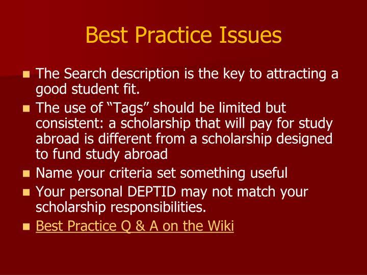 Best Practice Issues