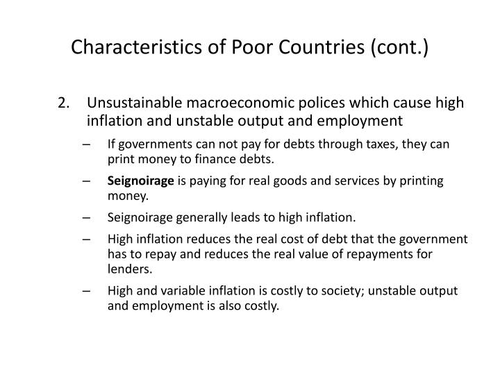 Characteristics of Poor Countries (cont.)