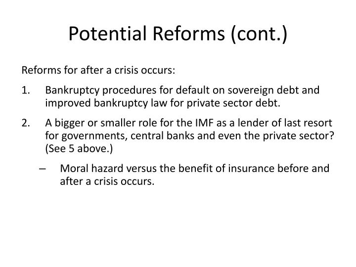 Potential Reforms (cont.)