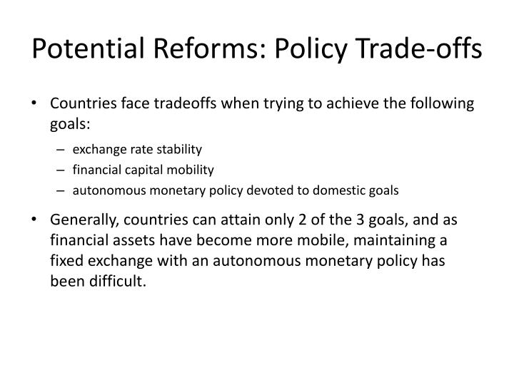 Potential Reforms: Policy Trade-offs