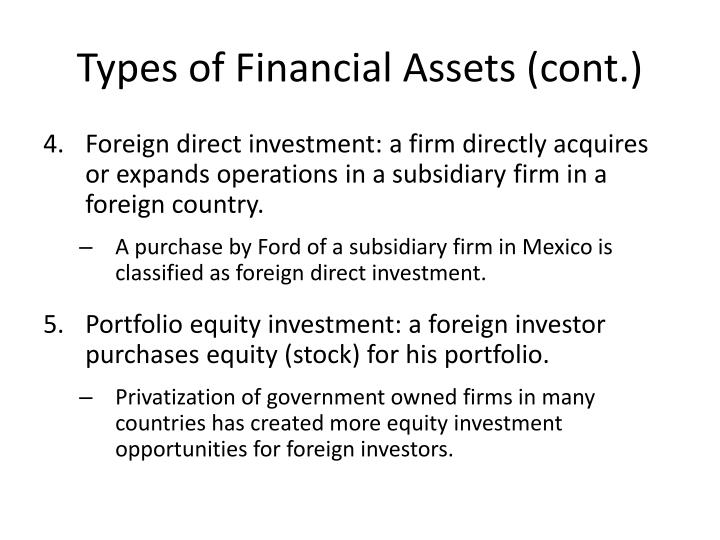 Types of Financial Assets (cont.)