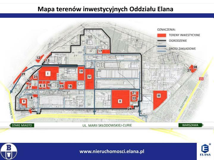 Mapa terenów inwestycyjnych Oddziału Elana