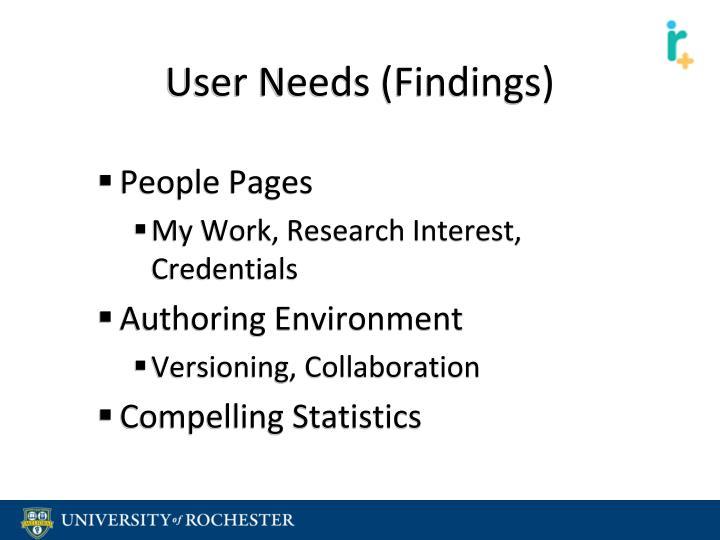 User Needs (Findings)