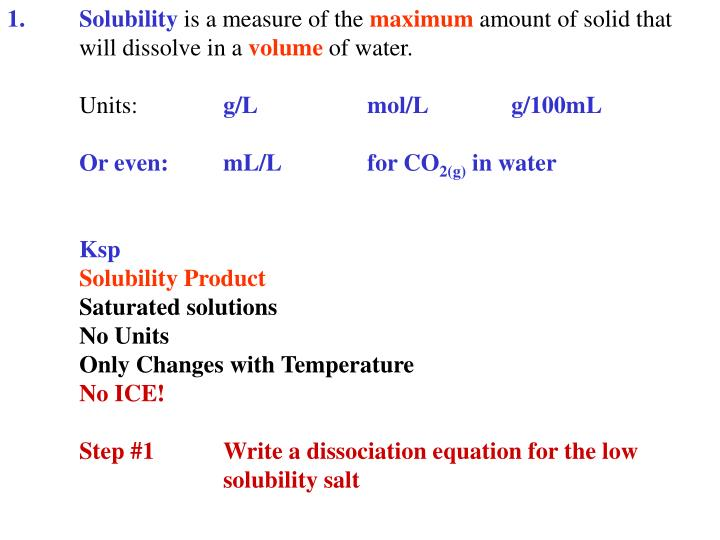 1.Solubility